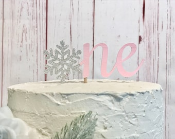 One Snowflake Cake Topper, Pink Winter Onederland Cake Topper, Snowflake First Birthday Cake Smash, Winter Wonderland Cake, Little Snowflake