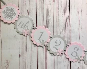Pink Winter Onederland Photo Banner, Snowflake Photo Banner, Snowflake First Birthday, 1st Birthday Winter Wonderland, Winter 1st Birthday