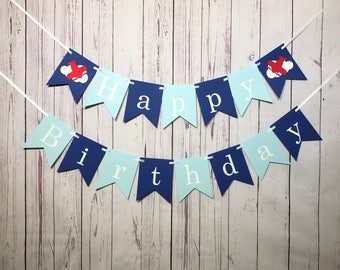 Airplane Birthday 1st Boy First Happy Time Flies Party Aviator Cake Smash Photo Prop Banner
