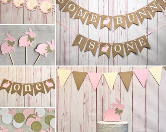 Some Bunny Is Turning One Party Package 1st Birthday Somebunny Decorations Girl