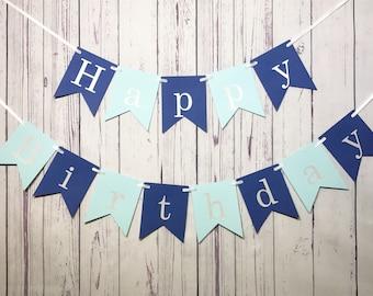 Happy Birthday Banner, 1st Birthday Boy, First Birthday, Cake Smash Photo, Blue Banner, Blue Party Decor, Personalized, Custom Name Banner