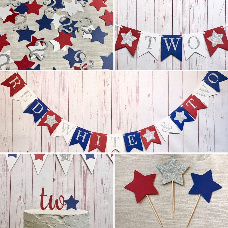 Red White and Two Birthday Package Fourth of July Birthday image 0