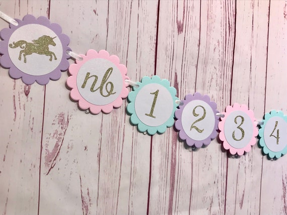 Unicorn First Birthday Photo Banner 1st
