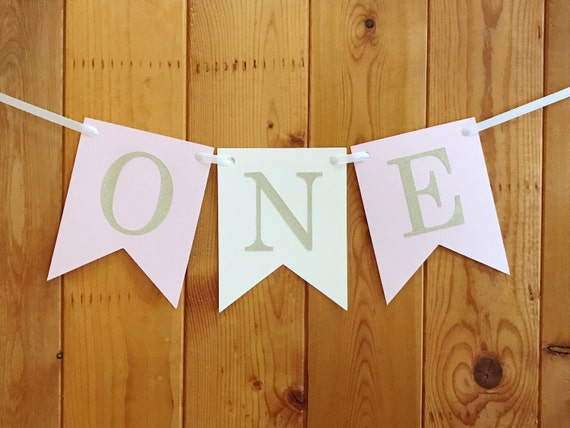 Gold ONE Banner First Birthday 1st Baby Party Decoration High Chair Glitter