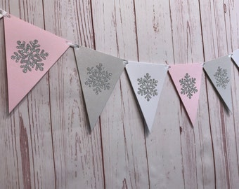 Pink Winter Onederland Garland, Winter Baby Shower Banner, Baby It's Cold Outside, Winter 1st Birthday, Pink and Silver Snowflake Decoration