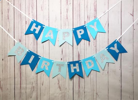 blue birthday banner 1st birthday banner boy birthday 1st