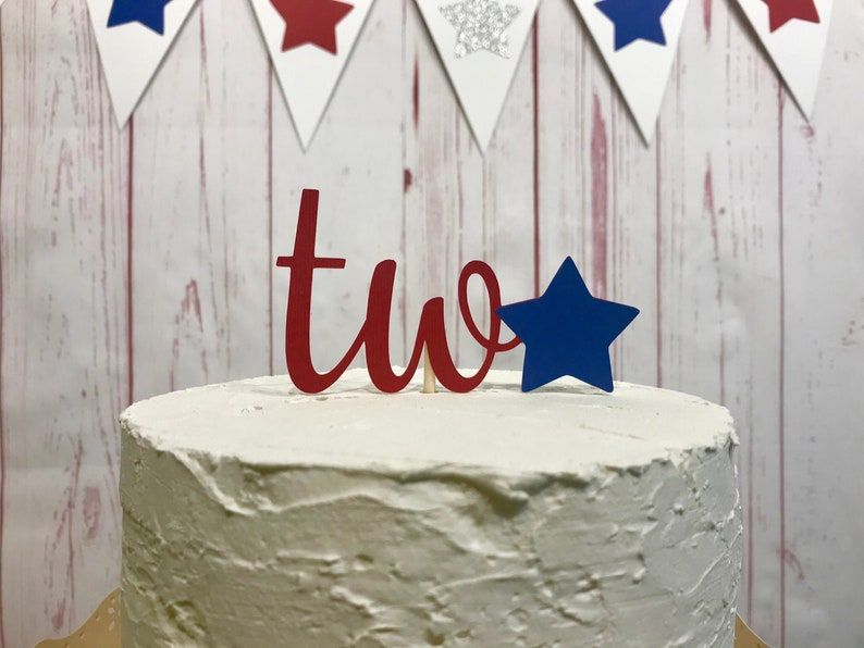Red White and Two Cake Topper Fourth of July Cake Topper 4th image 0