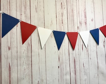 Red White and Blue Bunting, 4th of July Decorations, Patriotic Party Decor, Red White and Blue Garland, Triangle Flag Banner, Fourth of July