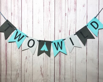 Two Wild Birthday, Two Wild Banner, 2nd Birthday, Second Birthday, Two Wild Boy, Tribal Party, Teepee, Boy Birthday Party, Birthday Banner