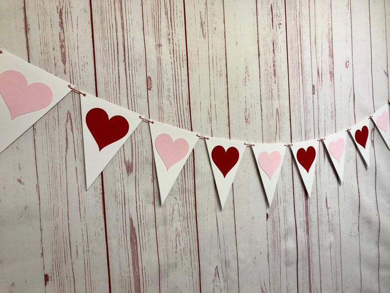Red and Pink Heart Garland Valentine Heart Bunting Valentine image 0
