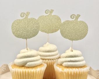 Pumpkin Cupcake Toppers, Little Pumpkin, Pumpkin First Birthday, Pumpkin Party, Gold Glitter Pumpkin, 1st Birthday Cupcake, Fall Party