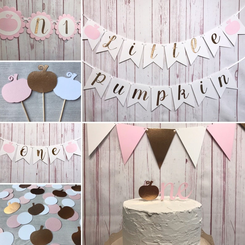 Our Little Pumpkin is Turning One Party Package Rose Gold image 0