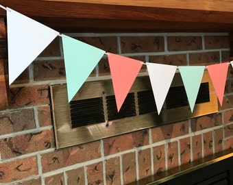Mint Coral Bunting, Bridal Shower Bunting, Triangle Flag Bunting, Mint Coral Banner, Tea Party Bunting, Mint Coral White, Nursery Bunting