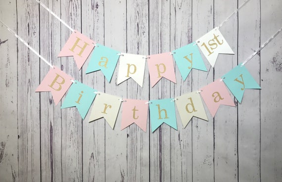 Pink Mint Birthday 1st Banner Happy Pastel Cake Smash Photo Prop Sweet 16 Party Girl