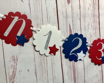 4th of July 1st Birthday, Red White and Blue Birthday Banner, Little Firecracker Monthly Photo Banner, First Year Banner, Patriotic Birthday