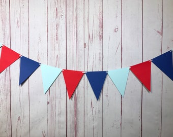 Red Blue Bunting, Triangle Bunting, Paper Garland, Pennant Banner, Triangle Pennant, Triangle Garland, Photo Prop, Boy Nursery Decor