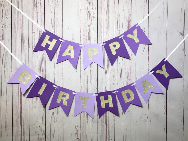 Purple Birthday Banner 1st