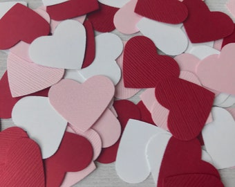 50 Valentine Heart Confetti, Valentine's Confetti, Valentine Table Decorations, Sweetheart 1st Birthday, Little Sweetheart, Red Pink & White