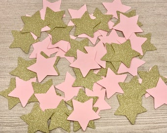 50 Twinkle Little Star Confetti, Pink and Gold, Gold Glitter, Gold Star Confetti, Table Confetti, Baby Shower, Birthday Confetti, Pink Decor