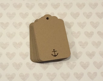 25 Kraft Paper Tags, Nautical Gift Tag, Scalloped Gift Tag, Anchor Tag, Wedding Favor Tag, Wedding Decor, Bridal Shower Decor, Thank You Tag