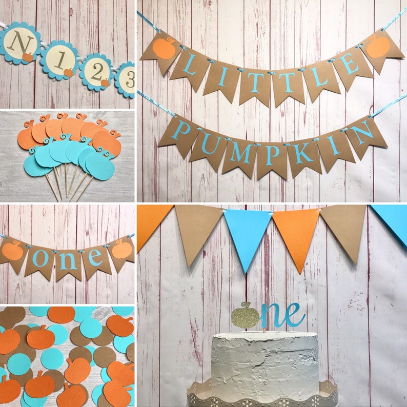 Our Little Pumpkin is Turning One Party Package Pumpkin Boy image 0