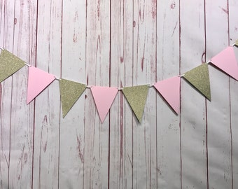 Pink and Gold Bunting, Pink and Gold 1st Birthday, Triangle Flag Banner, Baby Shower Bunting, Cake Smash Bunting, Pink and Gold Party Decor