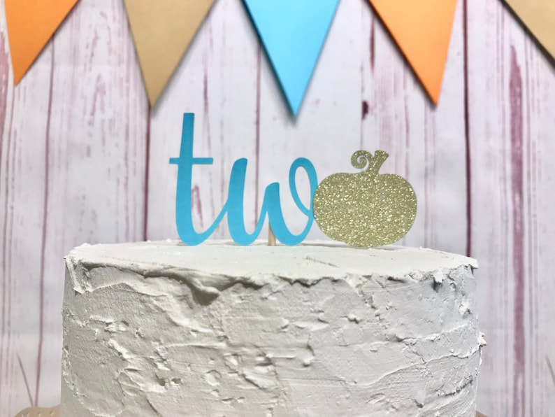 Number Two Pumpkin Cake Topper Blue and Gold Pumpkin Party image 0