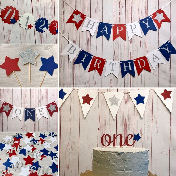 Red White and Blue Birthday Banner Glitter banner Patriotic Birthday Banner Happy Birthday Banner 4th of July Birthday Fourth of July