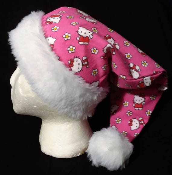 55d74e2b1cf02 Christmas Santa Hat Made From Hello Kitty Pink Fabric
