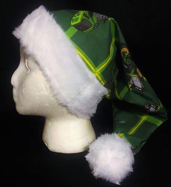 74790142206ce Christmas Santa Hat Made From John Deere Fabric
