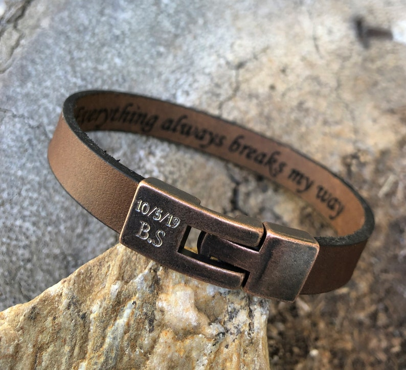 Cuff Leather Hidden Message Man Bracelet Engraved Message Leather Wristband FREE SHIPPING-Mens leather Bracelet Roman Numerals Bracelet