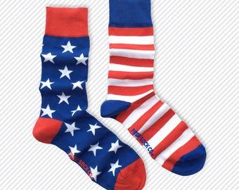 Mens Socks | Mismatched Socks | Stars and Stripes | Fun Socks | Crazy Socks | Mismatched | Cool Socks | Groom Socks | Funky Socks