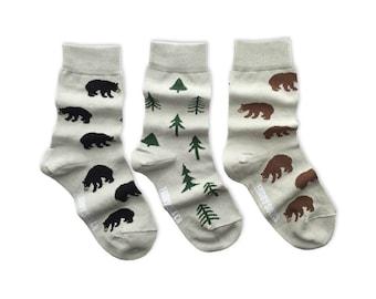 KIDS Socks | Mismatched Socks | Bears and Trees | Fun Socks | Crazy Socks | Mismatched | Odd Socks |  Cool Socks | Funky Socks