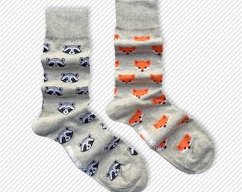 Mens Socks | Mismatched Socks | Fox | Raccoon | Fun Socks | Crazy Socks | Mismatched | Groom Socks | Funky Socks