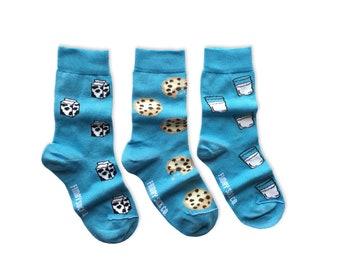 KIDS Socks | Mismatched Socks | Milk and Cookies | Kids | Fun Socks | Crazy Socks | Mismatched | Odd Socks |  Cool Socks | Funky Socks