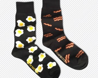 Men's Socks | Bacon & Egg | Mismatched Socks | Breakfast Socks | Brunch Socks | Fun Food Socks | Food Socks | Fathers Day Gift | Fathers Day