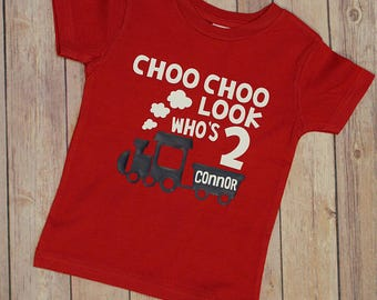 Birthday Shirt Choo Look Whos Two Second Train Kids Shirts2nd