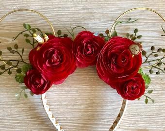 Beauty and the Beast Ears, Mickey Ears, Mickey Mouse Ears, Minnie Mouse Ears, floral wire ears, floral ears