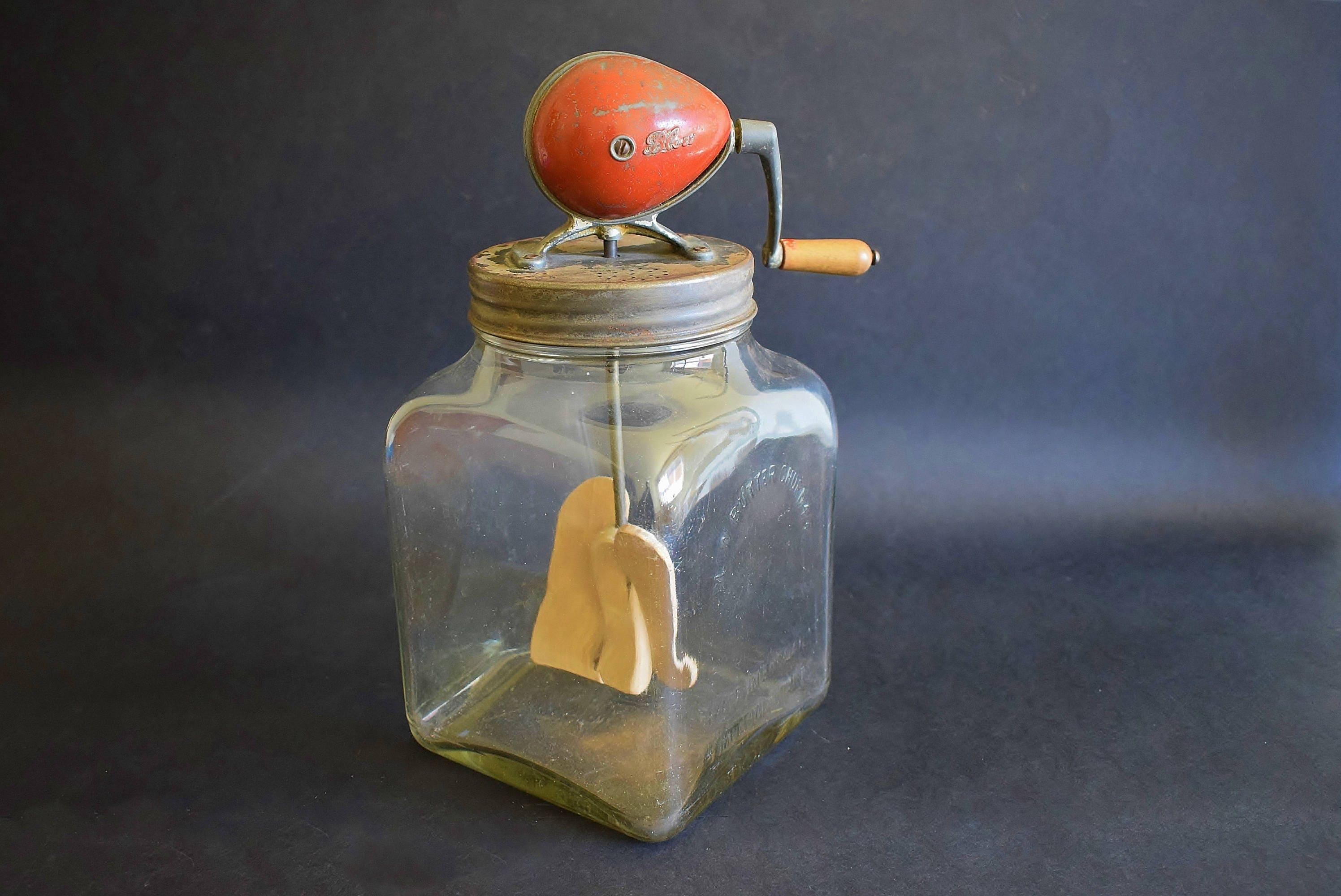 Antike Schlag Butter Churn 4/40 4 Imperial Quarts-Vintage Glas