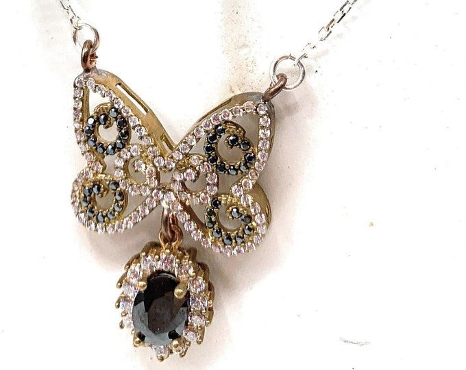 Gemstone butterfly pendant necklace, onyx and topaz butterfly in a silver chain, graduation gift, elegant accessory
