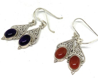 Delicate carnelian or amethyst drop earrings, SPECIAL OFFER, sterling silver and gemstone dangle earrings, everyday accessory, unique gift