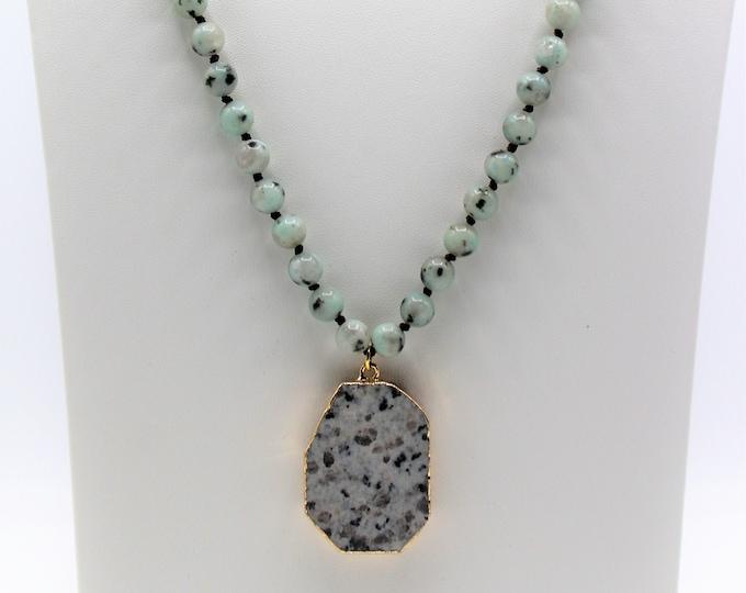 Long beaded pendant necklace, jasper hand knotted necklace with pendant, layering necklace