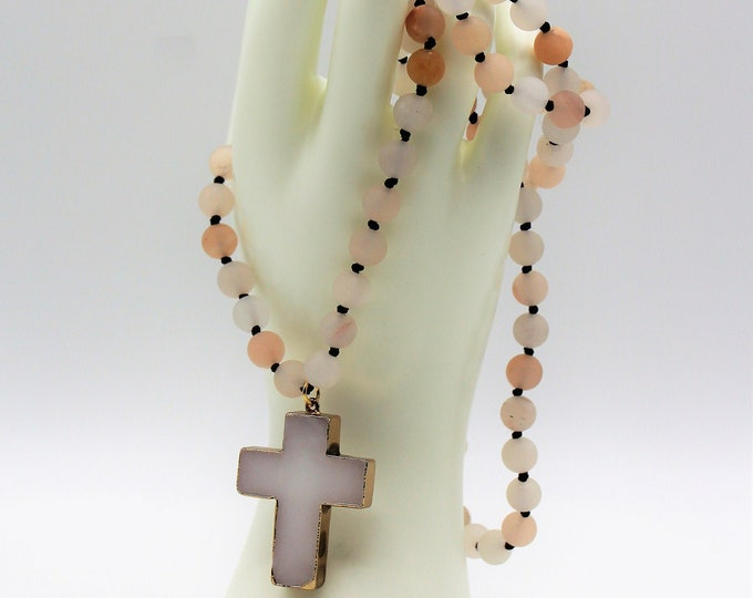 Agate cross long beaded necklace, hand knotted agate necklace, cross pendant long necklace, perfect gift idea for mom
