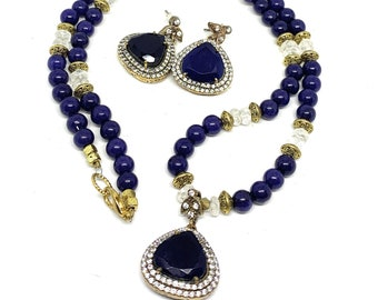 Blue sapphire pendant beaded necklace and earrings set, elegant two piece set, glamour bridal accessory, unique gift for women