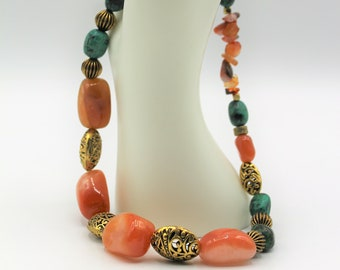 Chunky beaded necklace, red chalcedony and turquoise necklace, gemstone statement necklace, colorful accessory