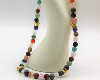 Multi gem beaded necklace, SPECIAL OFFER, colorful star motif necklace, layering necklace, unique gift idea for her