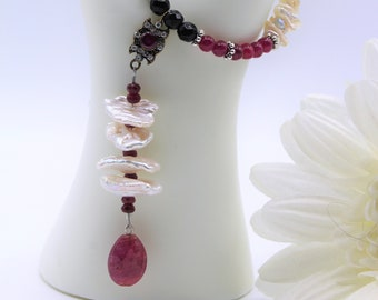 Delicate ruby Y necklace, genuine ruby and pearl necklace, beaded long necklace, jewel pendant necklace, natural gemstone accessory