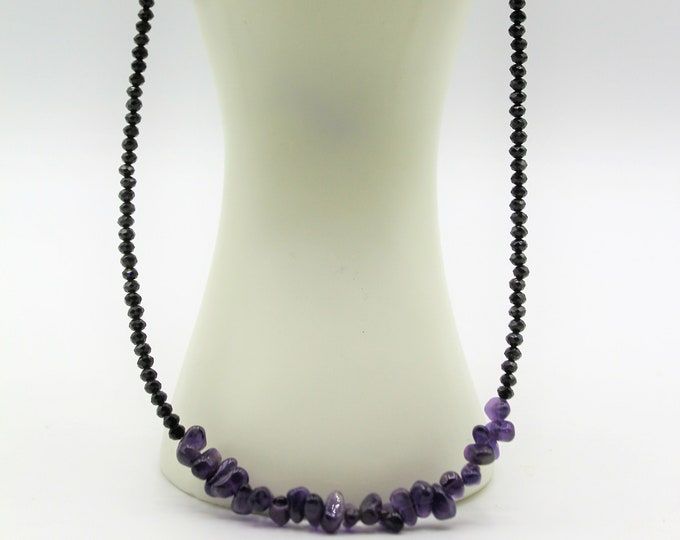 Dainty amethyst and black spinel necklace, minimalist gemstone accessory, delicate beaded necklace, colorful plus size choker