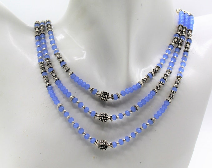 Blue chalcedony beaded necklace set, unique statement two piece set, multi strand necklace and earrings set, elegant wedding gift for women