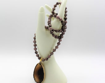 Brown pendant long necklace, hand knotted gemstone necklace, jasper beaded long necklace, unique gift idea for her